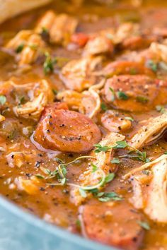 Chicken Andouille Sausage Gumbo - Smoky sausage, okra, and aromatic vegetables make this authentic New Orleans recipe perfect for sharing.   jessicagavin.com