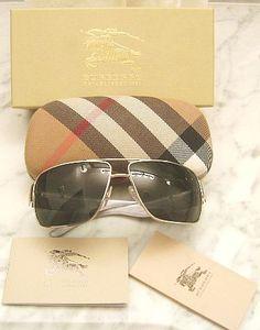 Burberry Sunglasses  (Men's Pre-owned Glasses, Striped Grey, White, Silver)