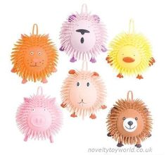 Squeezable rubber spiked puffer balls in assorted cute animal designs. Measure 21cm and feature a loop for hanging or attaching. Wholesale bulk buy from 72 units.
