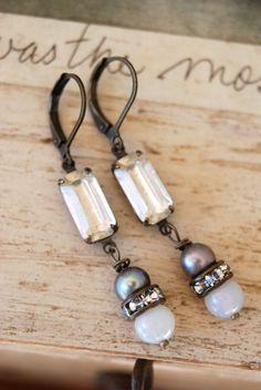 Tess. rhinestone dropbaroque pearl earrings by tiedupmemories, $32.00
