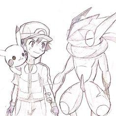 Ash with his Pikachu and his Greninja