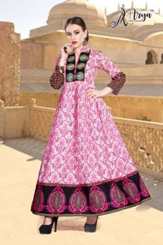 aryadress,maharani gown,designfull gown,fancy woman gown | Arya Dress Maker Designer Party Wear Dresses, Kurti Designs Party Wear, Latest Gown Styles, Fancy Gowns, Pink Fabric, Ladies Party, Women Brands, Fabric Material, Dressmaking
