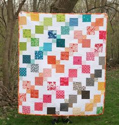 Modern Quilt  Kaleidoscopic Kites by FreshLemonsQuilts on Etsy
