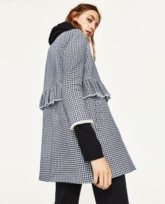 GINGHAM CHECK COAT WITH FRILL from Zara