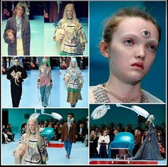 Gucci fashion show 2018: dragon carried by a male dressed in all black (Prince of Darkness), all-seeing eye, nakedness/shamelessness, savored heads of the very models carrying them (cloning), etc.