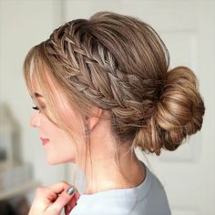 """Waterfall French Braid Low Bun 🎥 - Star stylist Sally Hershberger, the author of the famous star haircut, says: """"Meg has thin hair, - Easy Hairstyles For Medium Hair, Box Braids Hairstyles, Braids For Long Hair, Prom Hairstyles, Easy Updos For Long Hair, Hairstyles For Nurses, Easy Elegant Hairstyles, Hairstyle Ideas, Short Cuts"""