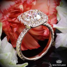 Ritani French-Set Cushion Halo Diamond Band Engagement Ring.