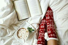 hot cocoa with a book at Christmas time
