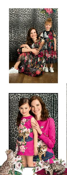 Super cute mommy & me look for Fall Winter 2017 by Dolce & Gabbana. Girls Party Dresses with Cat & Flower Prints. The best in kids fashion!