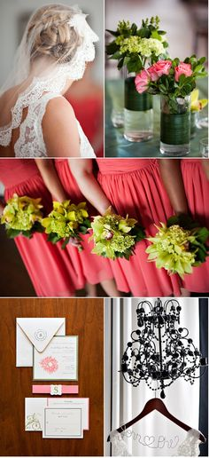 coral bridesmaid dresses and green flowers