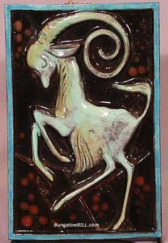 Art Deco Tile of a Gazelle by Walter Bosse
