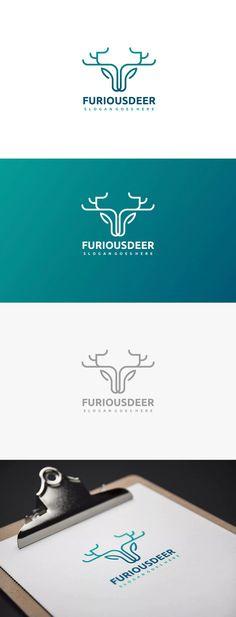Furious Deer Logo Template AI, EPS