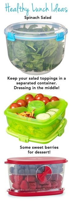 Healthy Lunch Ideas - Spinach Salad, Salad Toppings, and Berries for Dessert!