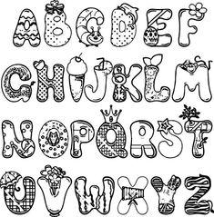 Cartoon Alphabet Set Coloring Page.