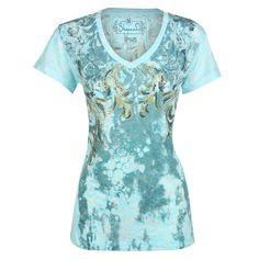 Shyanne® Women's Embellished Filigree Short Sleeve Tee