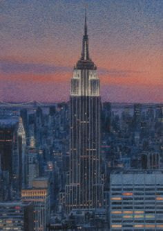 Marion Welch ~ Empire State Building, Sunset (watercolor)