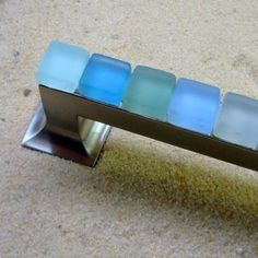 Beach Glass Drawer Pull 128mm Sea Cabinet Handle $36 by BeachyRustica Practical Art for Coast & Cabin