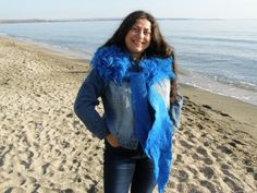 NAVY BLUE FLEECE artistic felted scarf by LanAArt