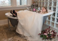 Go ahead! Jump in the tub during your bridal portraits :) pick up a copy of @ThePinkBride Magazine too! Photography by Star Noir Studio, Flowers by Melissa Timm Designs