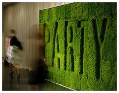 How about your monogram appearing in this lush green wall!! Indoor garden party