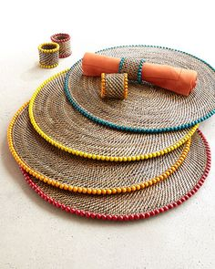 Bead-Rimmed Placemats & Napkin Rings at Horchow. Diy Crafts To Do, Rope Crafts, Linen Tablecloth, Table Linens, Modern Vintage Bathroom, Pine Needle Baskets, African Home Decor, Small Braids, Creation Deco