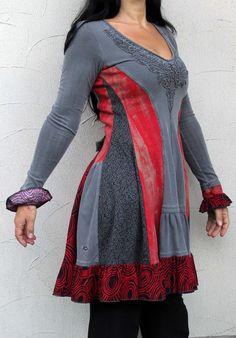 Fantasy rot und grau-romantisches Kleid Tunika von jamfashion