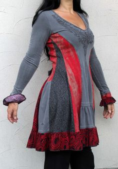 Fantasy red and grey romantic dress tunic recycled by jamfashion