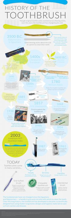 Cool infographic of the #toothbrush through #history. #dentistry