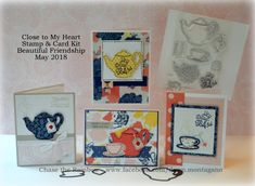 CTMH 'Beautiful Friendship' stamp and thin cuts has the cutest images for tea lovers! Join my Virtual Club and create these cards at home with a precut kit.