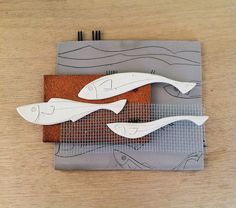 Sculptured ceramic tile, three kind of clay, white clay, grey clay, ceramic fish, wallart, tree dimension tile, art, white fish, robot fish by PaperDartSHOP on Etsy