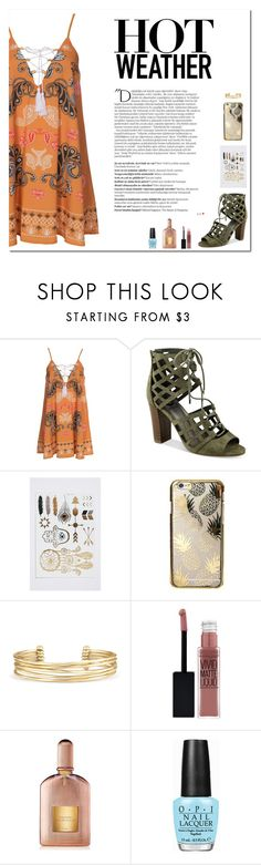 """""""Bohemian Rhapsody"""" by victoria-pittore ❤ liked on Polyvore featuring Kiss The Sky, G by Guess, Skinnydip, Stella & Dot, Maybelline, Tom Ford, OPI and Balmain"""