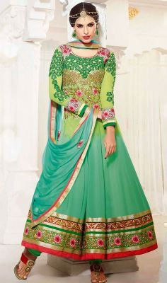 Lime Green and Greenish Blue Georgette Long Anarkali Suit Price: Usa Dollar $138, British UK Pound £81, Euro102, Canada CA$150 , Indian Rs7452.