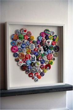 this would be fun done with bottle caps...maybe a W instead of a heart!
