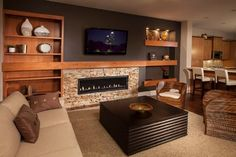 Contemporary Basement Fireplace Tv Walls Design Ideas, Pictures, Remodel and Decor