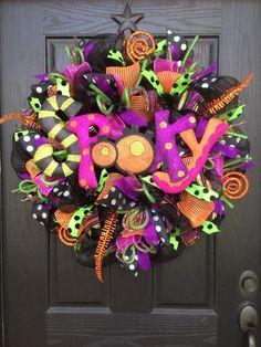 Halloween mesh wreath by Glitzy Wreaths Www.facebook.com/GlitzyWreaths