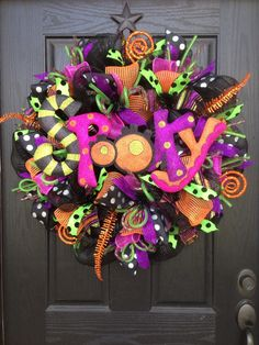 Halloween mesh wreath by Glitzy Wreaths Www.facebook.com/GlitzyWreaths