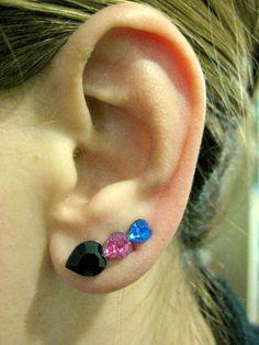 Ear Sweep Wrap - Earring with Swarovsky - Heart - Black - Pink - Blue | blucky - Jewelry on ArtFire