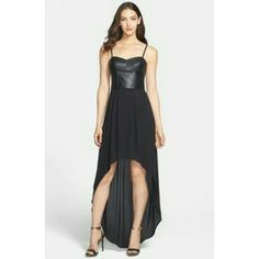 BCBG Black leather bodice hi lo dress Amazing dress with leather bustier top. Has stretchy panels on side for perfect fit. New without tags. I know my photos aren't grear but it looks just like the stock photos. BCBGMaxAzria Dresses High Low