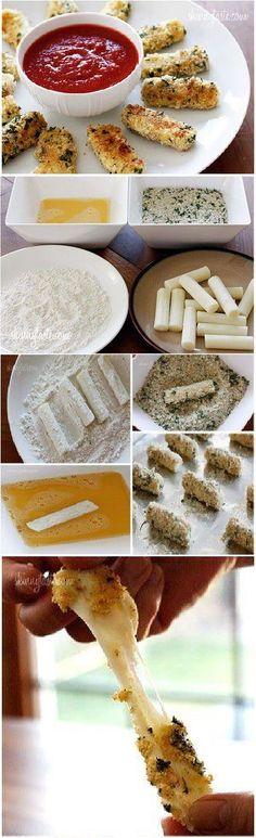 DIY Delicious Baked Mozzarella Sticks