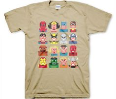 Pixel superheroes t-shirt! I find it interesting that it has both Marvel and DC characters on it.