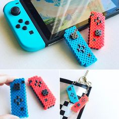 Nintendo Switch with Neon Blue and Neon Red Joy-Con (Discontinued by Manufacturer) Perler Bead Templates, Diy Perler Beads, Perler Bead Art, Pearler Beads, Melty Bead Patterns, Pearler Bead Patterns, Perler Patterns, Pixel Beads, Fuse Beads