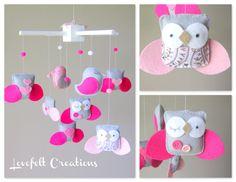 Bébé berceau Mobile  Mobile bébé  hibou et oiseau par LoveFeltXoXo, $140.00