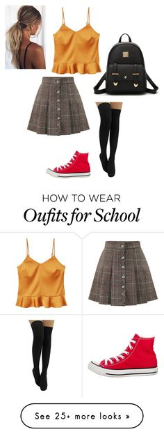 """""""Outfit 8"""" by randomuser14 on Polyvore featuring WithChic, MANGO and Converse"""