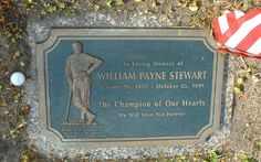 William Payne Stewart, 1957-1999 (cause of death: Plane crash) ~ Buried at D. Phillips Cemetery, Orlando, Florida * Golfer