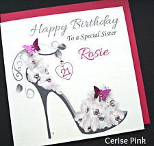 Personalised Handmade Birthday Card 18,  21, 30, 40.. Sister, Mum, Friend Niece