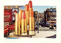 Claes Oldenburg Lipsticks in Piccadilly Circus, London 1966