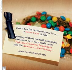 Charitable Wedding Favors- I will definitely be doing something similar to this. How special.