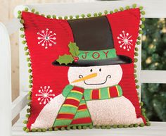 "16"" Snowman Christmas Decorative Pillow Cover"