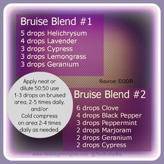 Bruise Blends from the Essential Oil Desk Reference (www.newbeginningoils.com)