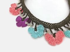 Crochet Necklace Colorful Oya Flowers Crochet Necklace Fiber
